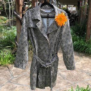 🌺 Liz Claiborne - Black/Tan Trench Coat Misses 1X